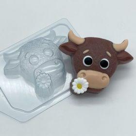 """Пластиковая форма для мыла и шоколада """"Бык с цветочком"""" 2030"""