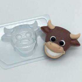 """Пластиковая форма для мыла и шоколада """"Бык с улыбкой"""" 2029"""