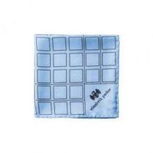 """Английский нагрудный платок  Небесно-синяя сетка"""" SKY BLUE CHECK GRID SILK POCKET SQUARE"""