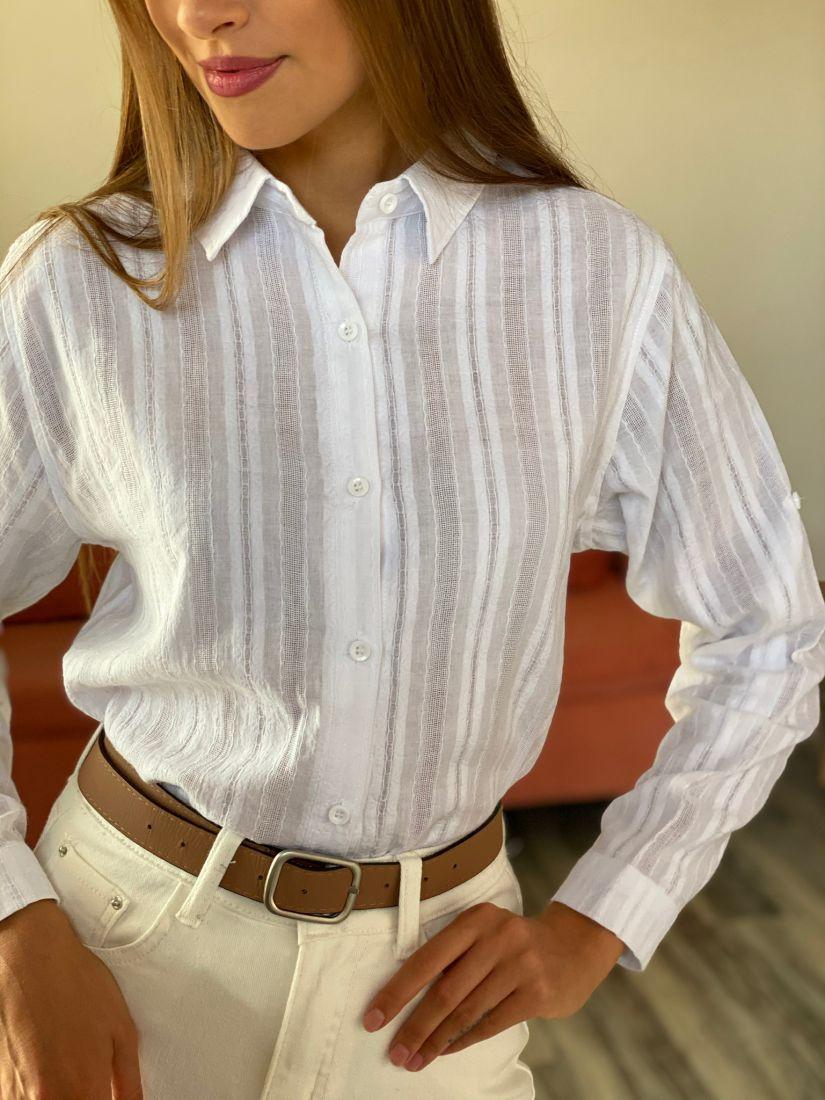 s2701 Рубашка в полоску белая