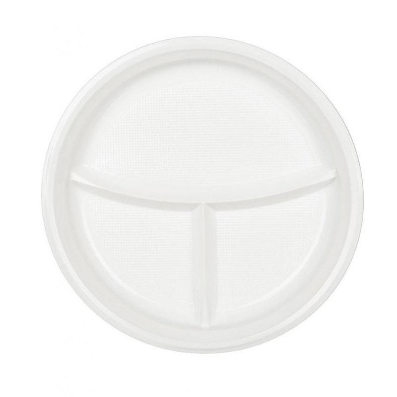 Тарелки трехсекционные одноразовые А СтП 20.5 см 100 шт