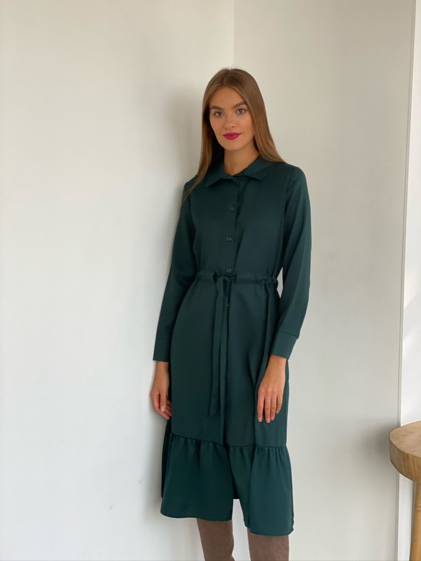 s2710 Платье-рубашка с кулиской изумрудное