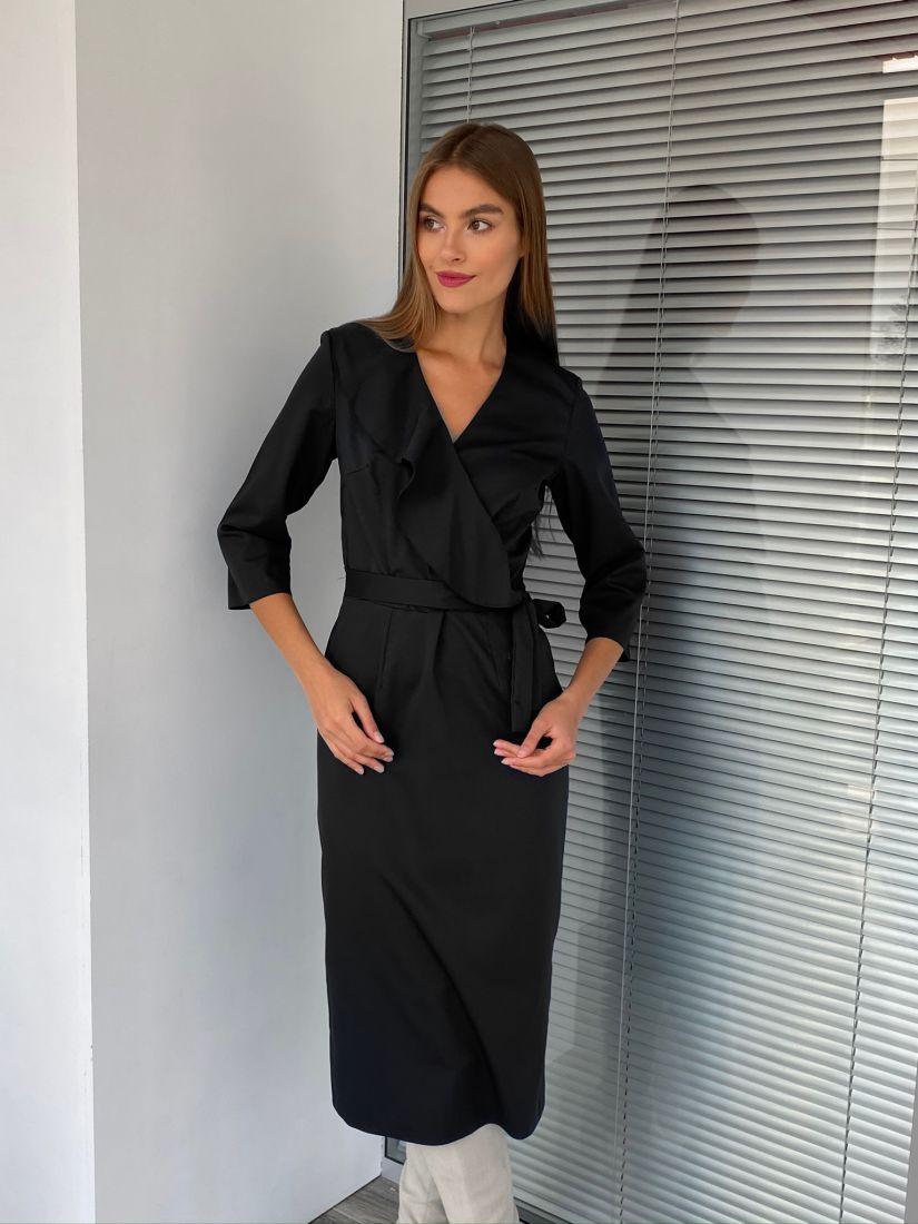 s2719 Платье с воланом чёрное