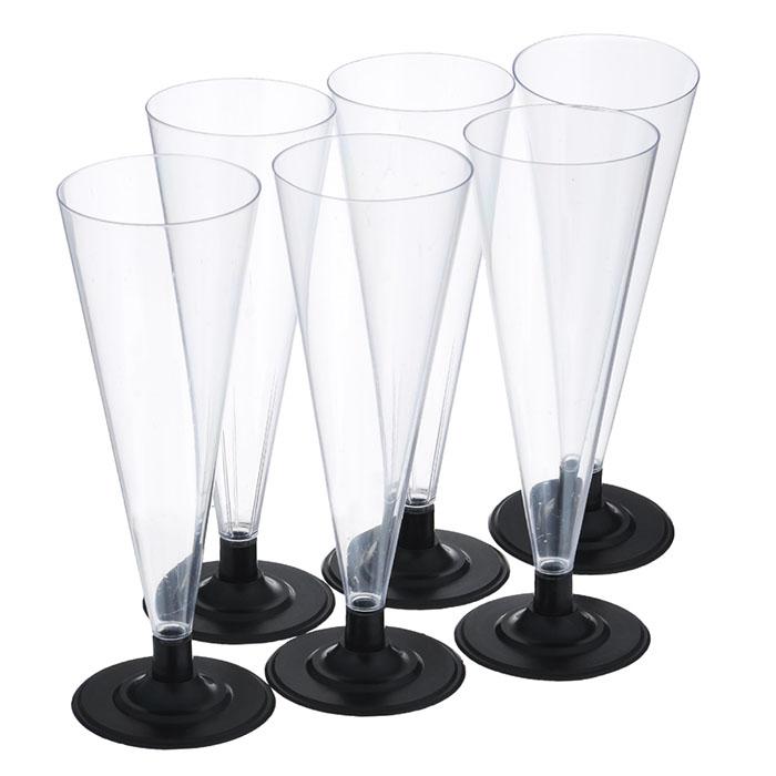 Пластиковые бокалы для шампанского 180 мл 6 шт