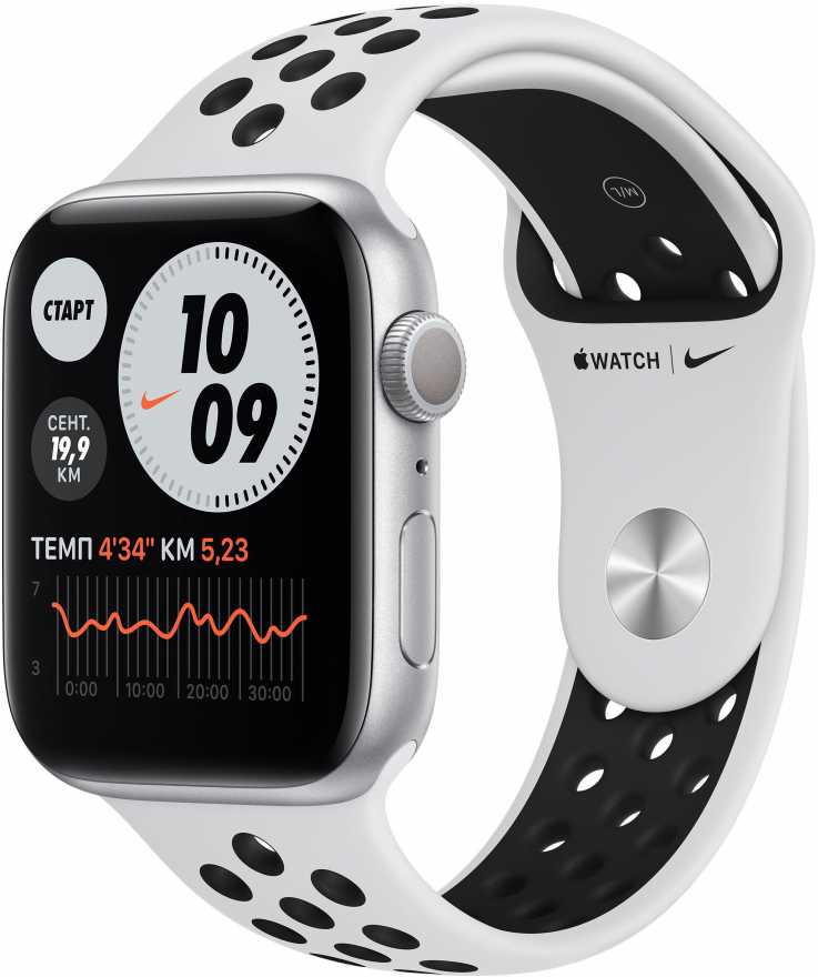 Apple Watch Series 6, 44 мм, чистая платина  чёрный