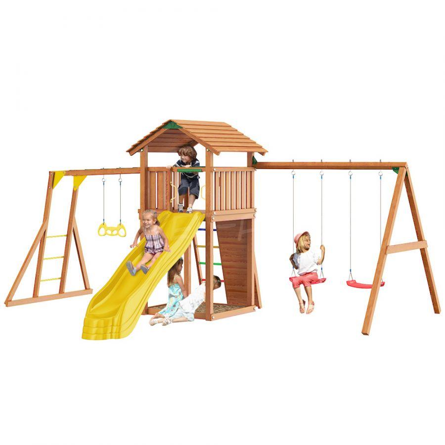 Детский городок Jungle Gym Cottage + Rock +SwingModule Xtra + рукоход с кольцами