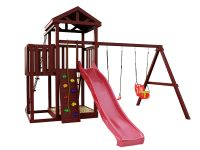 Деревянная детская площадка IgraGrad Панда Фани с балконом и сеткой