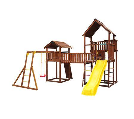 Детский городок Jungle Gym Palace + Bridge Link + Cottage(без горки) + Rock + Рукоход с сиденьем