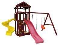 Деревянная детская площадка IgraGrad Панда Фани + винтовая горка