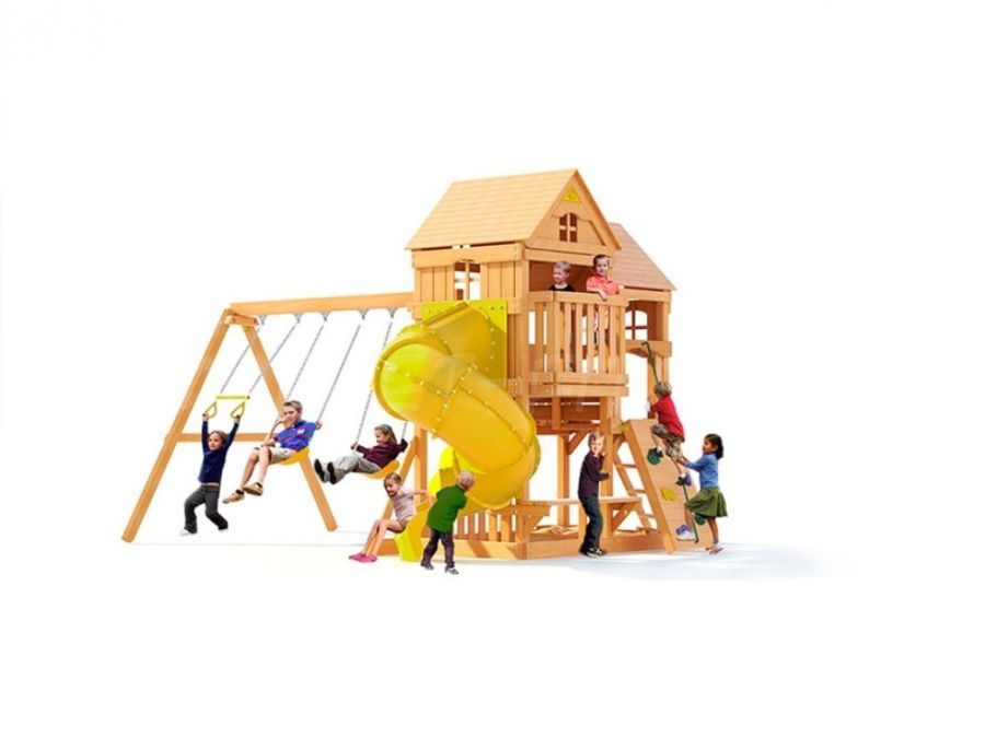 Детский игровой комплекс DreamWood Панорама с винтовой горкой