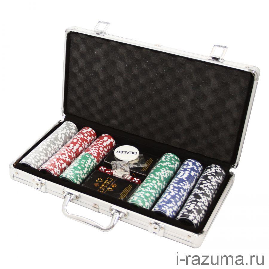 Покерный набор на 300 премиум-фишек «Фабрика покера» (фишка 11,5 гр./алюминиевый кейс)