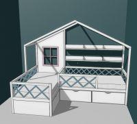 Кровать Домик угловой Fairy Land №9А (для двоих детей)