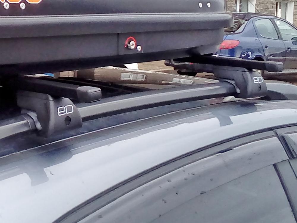 Багажник на крышу - стальные прямоугольные дуги на рейлинги Kia Rio X-Line, Евродеталь
