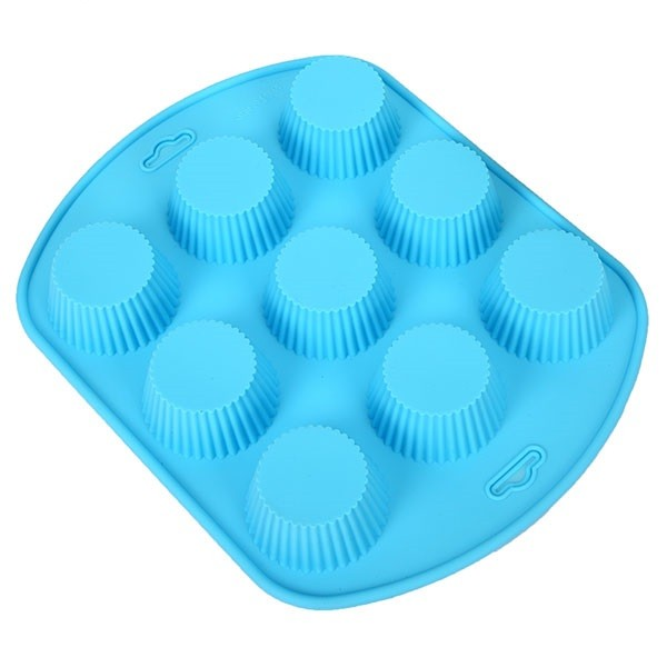 Силиконовая рифлёная форма для выпечки кексов, 9 ячеек