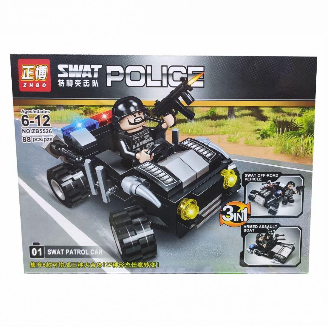 Конструктор SWAT POLICE 3в1, 88 деталей