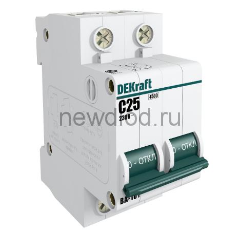 DEKraft Авт. выкл. 2Р 25А х-ка C ВА-101 4,5кА