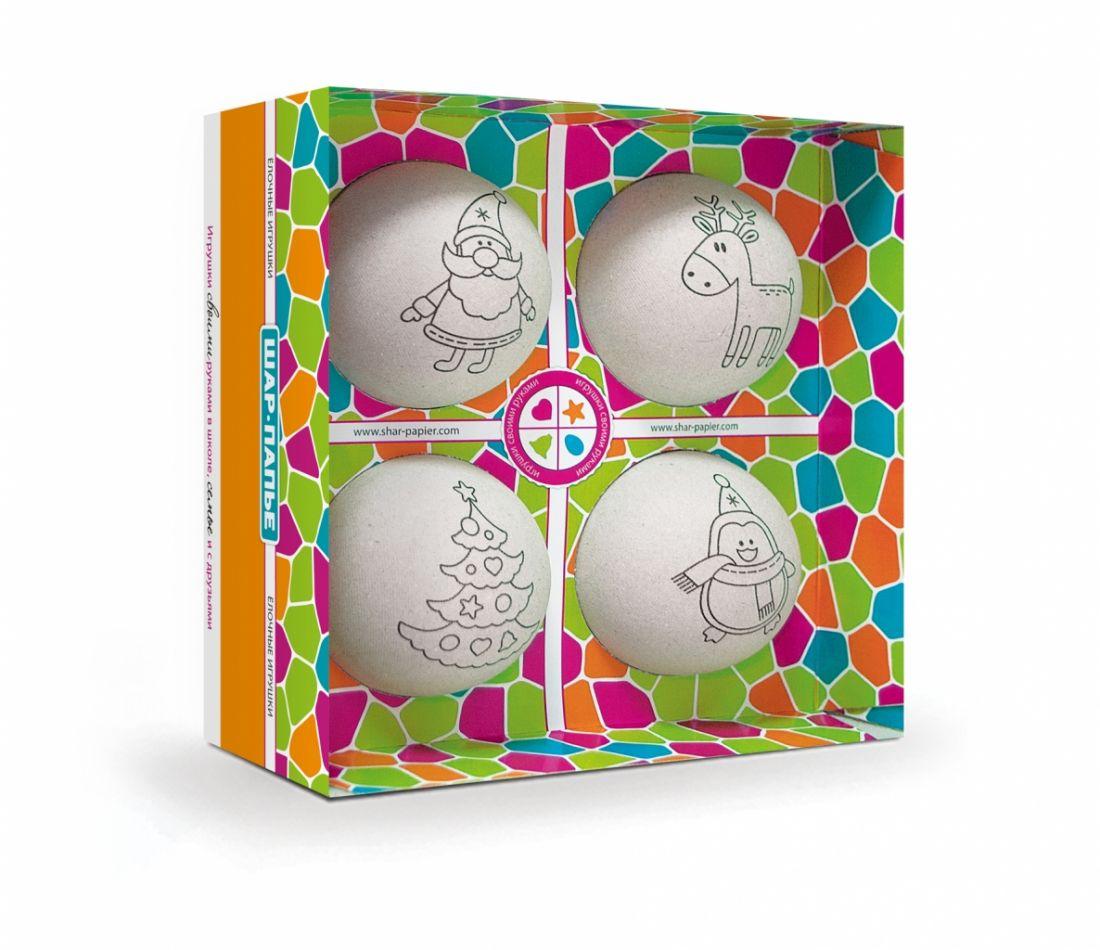 Набор для творчества ШАР-ПАПЬЕ В0270Т Елочные игрушки (4 шара)