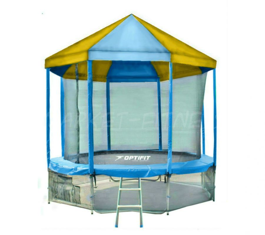 Батут OPTIFIT LIKE BLUE 12 FT (3.66 м) с сине-желтой крышей