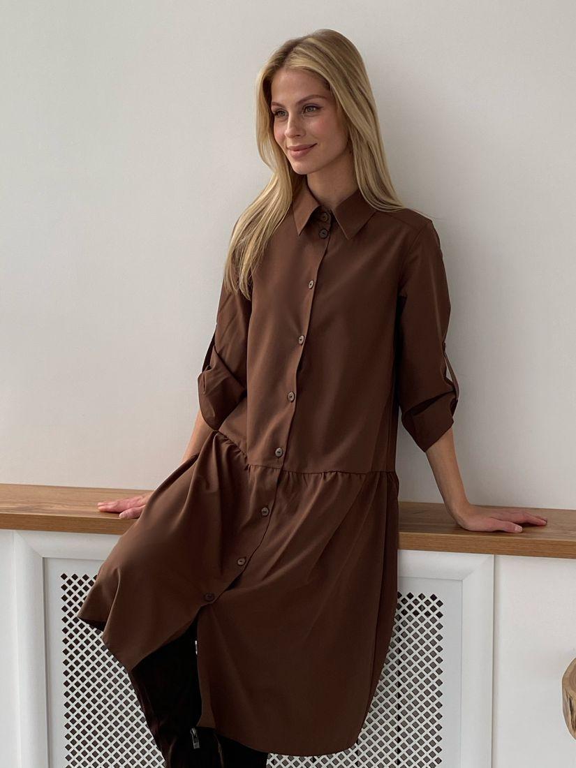 "s2727 Платье-рубашка с воланом в цвете ""шоколад"""