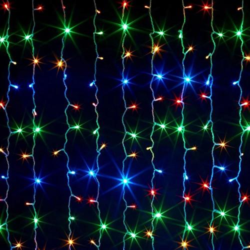 Светодиодная гирлянда - шторка 320 Led лампочек. Цвет свечения: цветной.