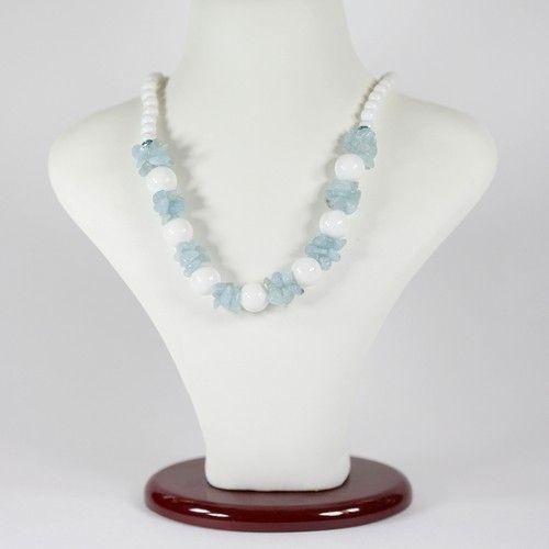 Ожерелье - Русалка - из аквамарина и агата белого