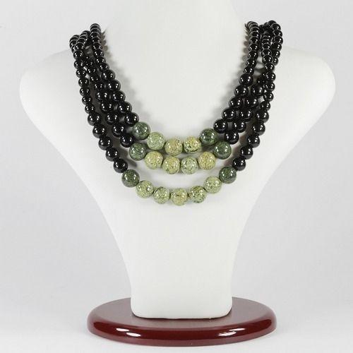 Ожерелье - Лукреция - из змеевика и агата черного (3 нити)