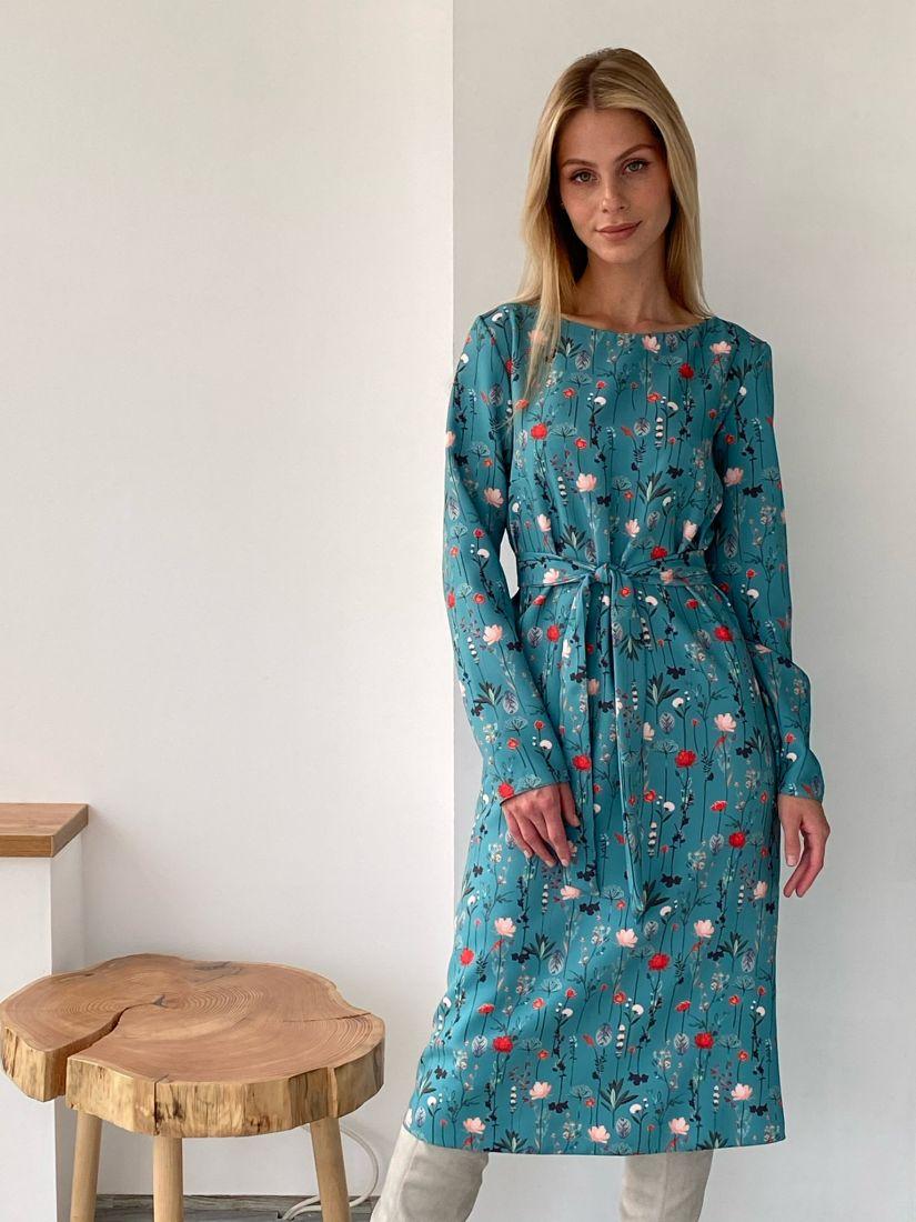 s2739 Платье сине-зелёное с принтом