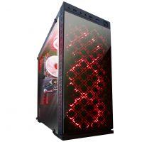 Корпус Frime Illusion red led без БП (Illusion-U3-GLS-4RDRF); 1xUSB 3.0, 2xUSB, Левая боковая панель из закаленного стекла, 4шт Red Double Ring Fan