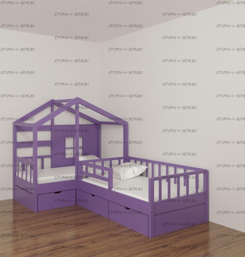 Кровать Домик угловой Fairy Land №35F (для двоих детей)