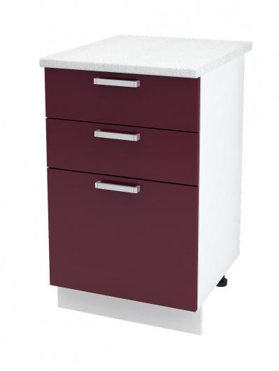 Шкаф нижний с тремя ящиками Глория ШН3Я 500
