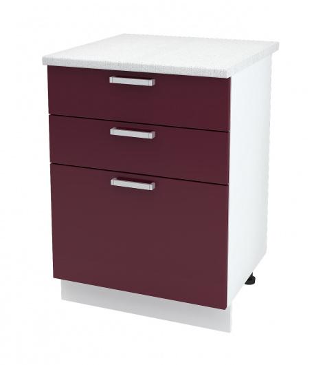 Шкаф нижний с тремя ящиками Глория ШН3Я 600