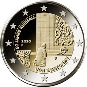 50 лет варшавскому покаянию 2 евро Германия 2020 Монетный двор на выбор