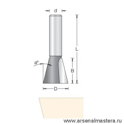 Фреза ласточкин хвост угол 7 гр D 15,9 x 15,9 L 44,5 хвостовик 8 Dimar 1040075