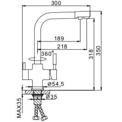 Смеситель д/кухни с подключ.фильтра питьев.воды F4352-23