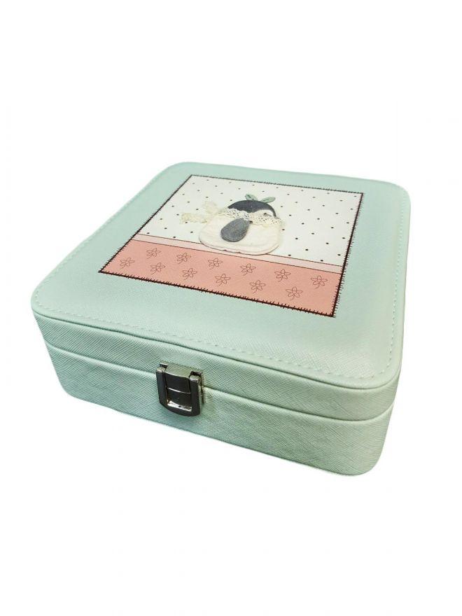 Шкатулка для ювелирных изделий Сундучок с аппликацией, 18х7х18 см