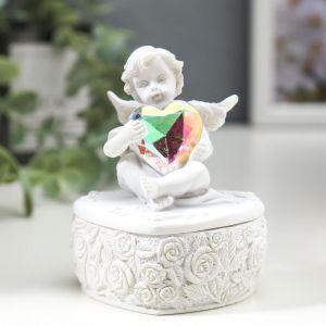 "Сувенир полистоун шкатулка ""Белоснежный ангел с переливающимся сердцем"" 8х6,5х5,4 см   4838702"