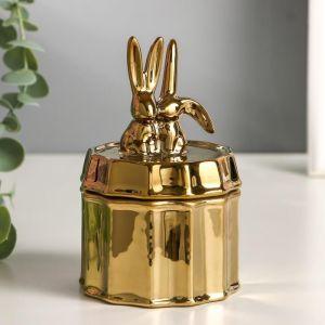 "Шкатулка керамика ""Золотые кролики"" 13х8х8 см   5185423"