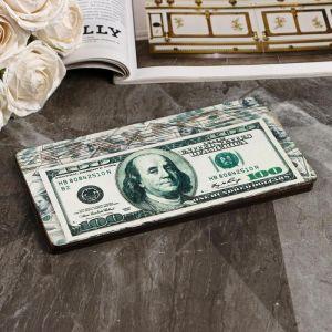 """Купюрница """"100 долларов"""", плоская, печать, 18,5х9,5х0,8 см 5122196"""