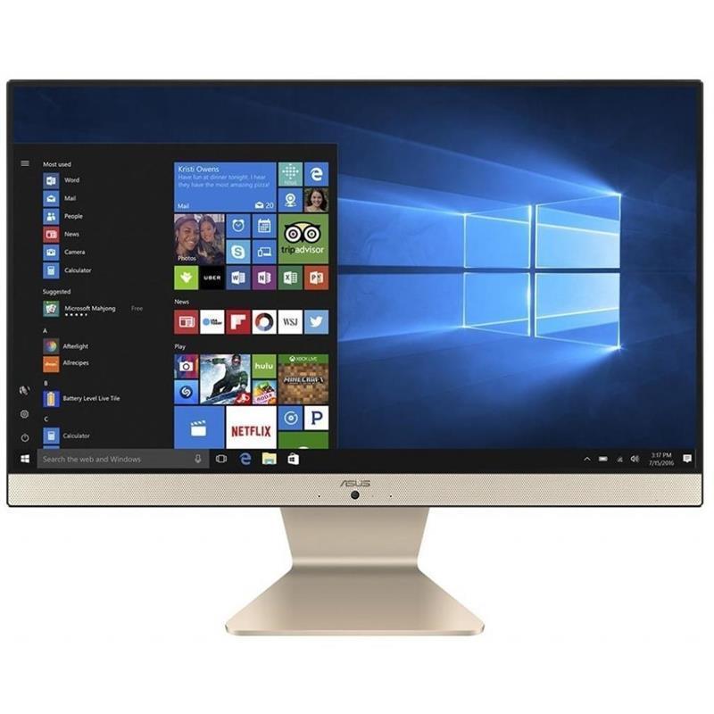 "Моноблок Asus M241DAT-BA005M (90PT02P2-M07460); 23.8"" (1920х1080) IPS / AMD Ryzen 3 3250U (2.6 - 3.5 ГГц) / RAM 8 ГБ / SSD 128 ГБ / AMD Radeon Vega 3 Graphics / без ОП / LAN / Wi-Fi / Bluetooth / веб-камера / кардридер / Linux / черно-золотистый"