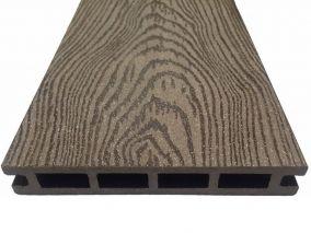 Террасная доска из ДПК марки Holzhof с тиснением кольца дерева