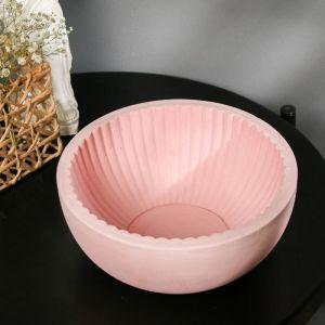 Кашпо круглое розовое из бетона «Эстетика», 20 х 8,5 см