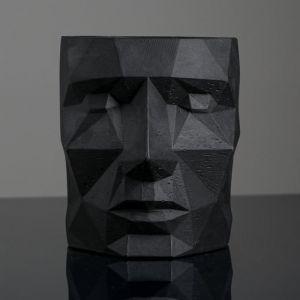 Кашпо черное полигональное «Голова», 16 х 20 см   5290042