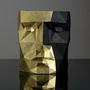 Кашпо черно-золотое полигональное «Голова», 16 х 20 см   5290043