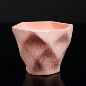 Кашпо-ромб розовое из бетона «Фантазия», 10,5 х 9 см