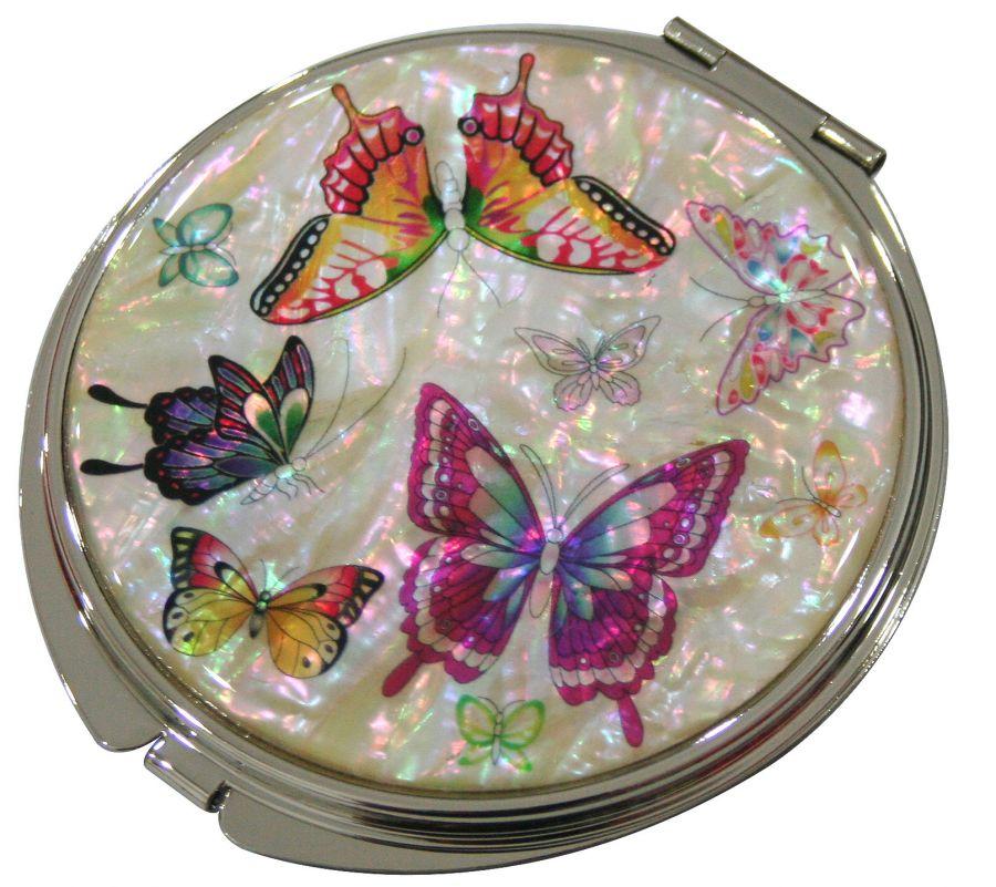 "Зеркальце складное ""Разноцветные бабочки"" белое (арт. MIL-SNB6)"