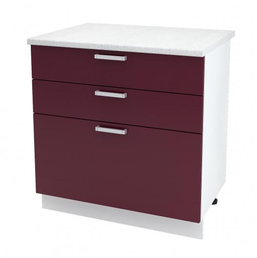 Шкаф нижний с тремя ящиками Глория ШН3Я 800
