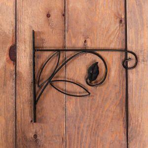 Кронштейн для кашпо, кованный, 30 см, металл, чёрный, «Цветок»