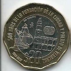 500 лет основания Веракрус   20 песо Мексика 201