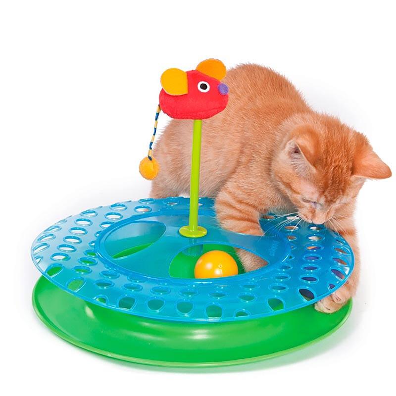 Игрушка-трек для кошек с двумя мячиками