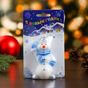 """Свеча """"Снеговик в голубом шарфе"""""""